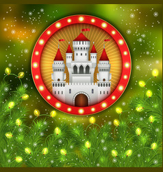 christmas white castle lights garland fir-tree vector image