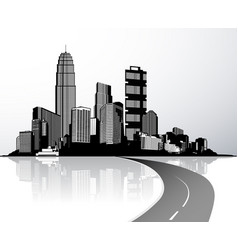 city with skyscrapers reflected in water vector image