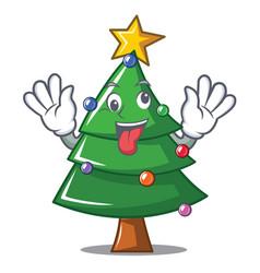 Crazy christmas tree character cartoon vector