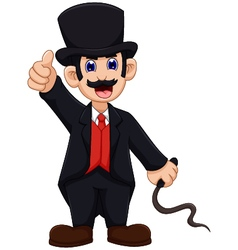 Cute ringmaster cartoon thumb up vector