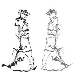 Fashion models Sketch vector image