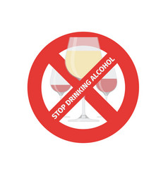 flat stop drinking icon of alcohol glass vector image vector image