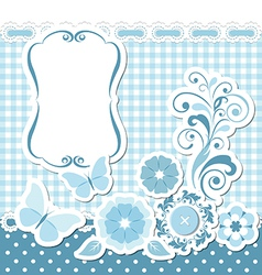 Floral scrapbook blue set vector image vector image