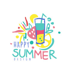 Happy summer logo template design colorful hand vector