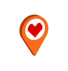 Map pointer with heart symbol flat isometric icon vector