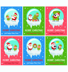 merry christmas claus and elf vector image