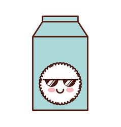milk box kawaii character vector image vector image