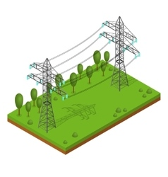 Power Lines Pylons vector image