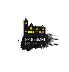 Protestant Cathedral Church and splash vector image