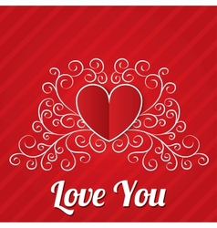 Red paper hearts background Valentines day card vector image vector image
