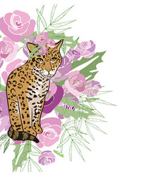 retro style with flowers and animal vector image vector image