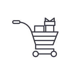 shopping cart with gifts concept thin line vector image