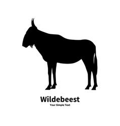 silhouette of wildebeest vector image vector image