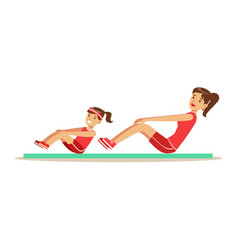 Smiling woman and girl doing pull ups for abs on vector