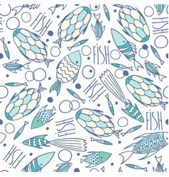 soft white pattern with fishes in chaotic manner vector image