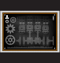the car engine and gears vector image