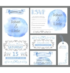 Watercolor wedding invitation setcyan stein vector