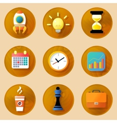 Wooden business icons set vector image vector image