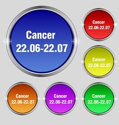 Zodiac cancer icon sign round symbol on bright vector