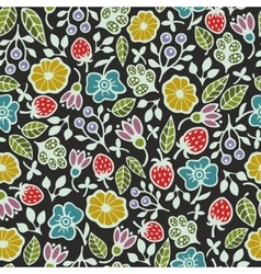 Seamless pattern with plants and flowers on the vector