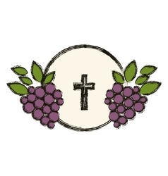 Isolated religion cross and grapes design vector