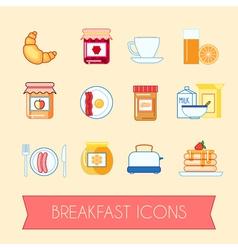 Set of breakfast icons vector