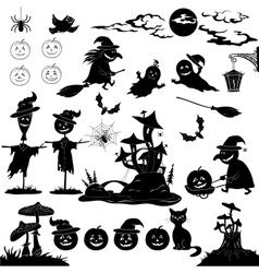Halloween cartoon set black silhouette vector image
