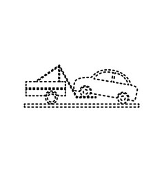 Tow truck sign black dashed icon on white vector