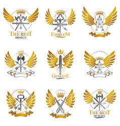 Vintage weapon emblems set heraldic signs vector