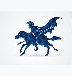 Spartan warrior riding horse with spear and shield vector