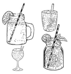 Set of hand drawn summer cocktails on white vector
