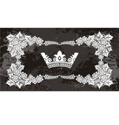 Nice floral frame with crown vector