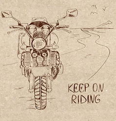 Retro sketch with motorbike vector