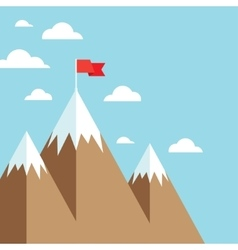 Flag on mountain success goal achievement vector