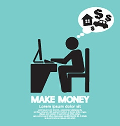 Make money person working with laptop vector