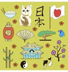 Seamless Japanese symbols yellow background vector image