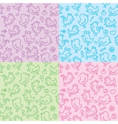 Hand drawn seamless patterns vector