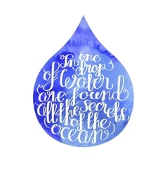 Graphic ocean quote in a water drop vector