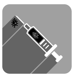 Infection injection flat square icon with long vector