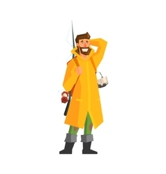Male adventurer with fishing equipment vector