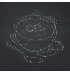 Pot of hot soup vector