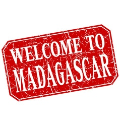Welcome to madagascar red square grunge stamp vector