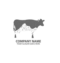 Night cow logo icon vector