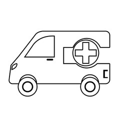 Ambulance emergency vehicle with cross symbol vector