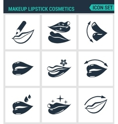 Set of modern icons makeup lipstick vector