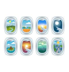 airplane window view vector image