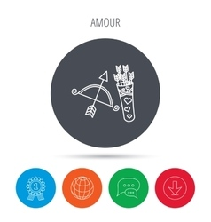 Amour arrows and bow icon Valentine weapon sign vector image vector image