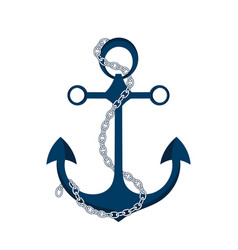 Anchor with chain icon logo marine theme vector