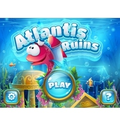 Atlantis ruins with fish rocket - vector