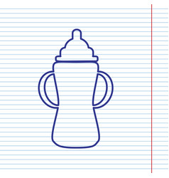 Baby bottle sign navy line icon on vector